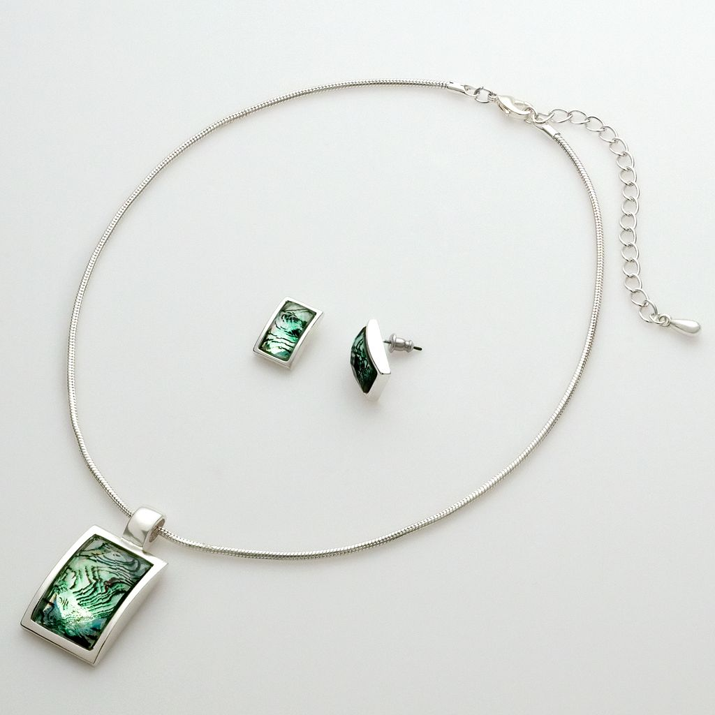 Silver-Tone Square Pendant & Earring Set