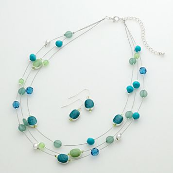 Silver-Tone Illusion Necklace & Drop Earring Set