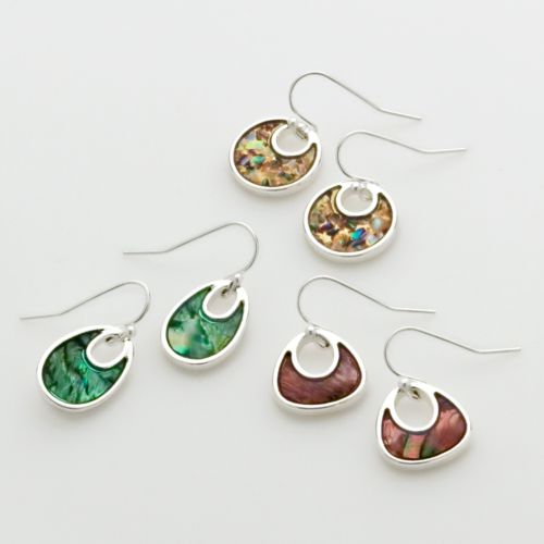 Croft & Barrow® Silver Tone Drop Earring Set