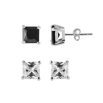 Sterling Silver Cubic Zirconia & Glass Stud Earring Set
