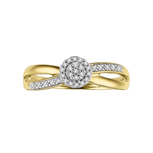 Cherish Always Round-Cut Certified Diamond Crisscross Engagement Ring in 10k Gold (1/6 ct. T.W.)