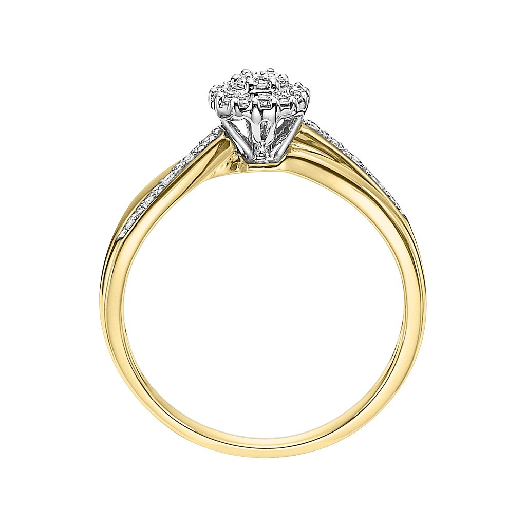 Cherish Always Round-Cut Certified Diamond Crisscross Engagement Ring in 10k Gold (1/6 ct. T.W.)