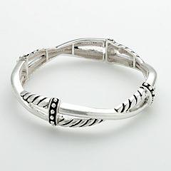 Napier® Silver-Tone Twist Stretch Bracelet