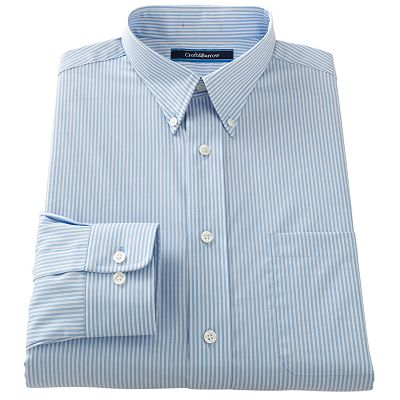 Croft and Barrow Classic-Fit Patterned Button-Down Collar Easy-Care Dress Shirt