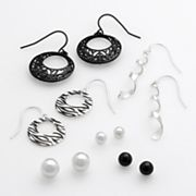 SO Silver-Tone Drop and Stud Earring Set