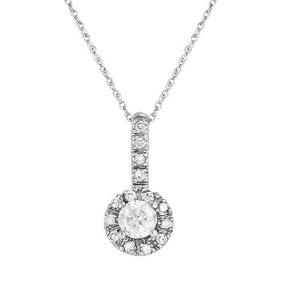 14k White Gold 1/2-ct. T.W. IGI Certified Diamond Framed Pendant