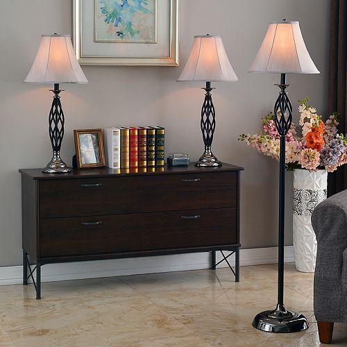3-pc. Sperry Black Lamp Set