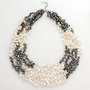 Sterling Silver Dyed Freshwater Cultured Pearl Multistrand Bib Necklace