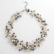 Sterling Silver Dyed Freshwater Cultured Pearl Illusion Necklace