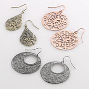 Mudd Tri-Tone Filigree Teardrop, Hoop and Drop Earring Set
