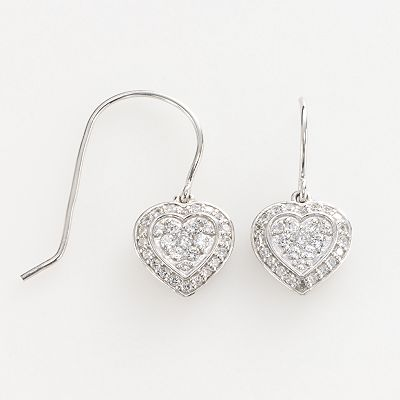 14k White Gold 3/10-ct. T.W. Diamond Heart Drop Earrings