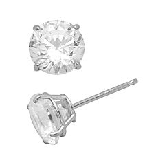 Renaissance Collection 10k White Gold 1 ctT.W.Cubic Zirconia Stud Earrings - Make with Swarovski Zirconia