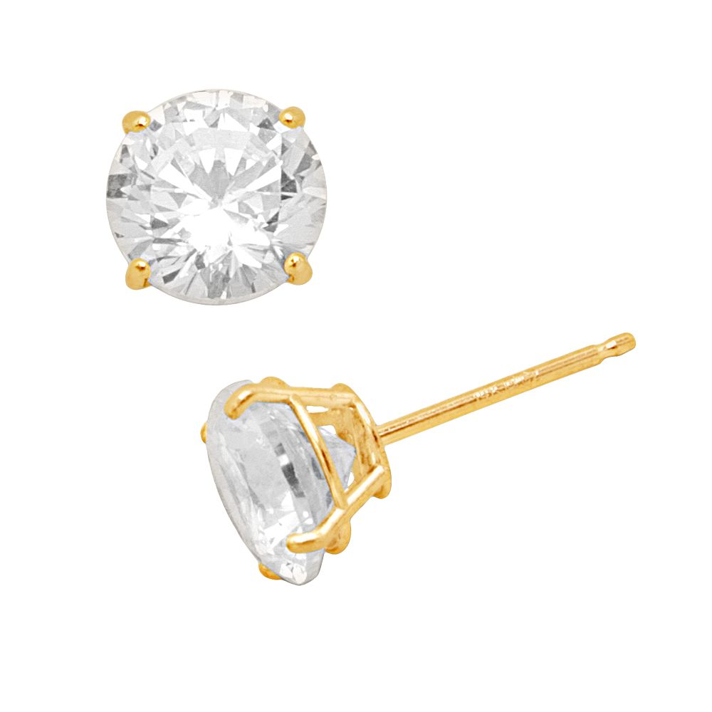 Renaissance Collection 10k Gold 3 Ct T W Stud Earrings Made With Swarovski Zirconia