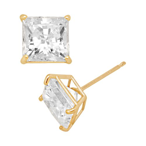 Renaissance Collection 10k Gold 3-ct. T.W. Cubic Zirconia Stud Earrings - Made with Swarovski Zirconia