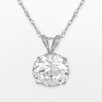 Renaissance Collection 10k White Gold Round-Cut Pendant - Made with Swarovski Zirconia