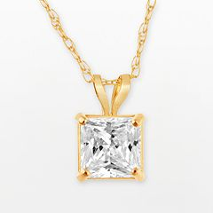 Renaissance Collection 10k Gold Princess-Cut Pendant - Made with Swarovski Zirconia