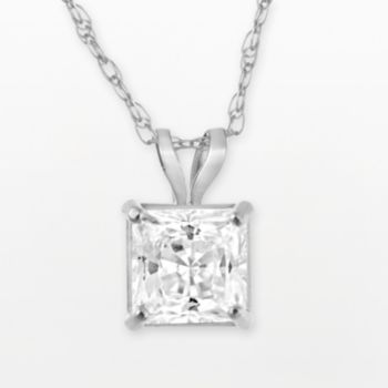 Renaissance Collection 10k White Gold Princess-Cut Pendant - Made with Swarovski Zirconia