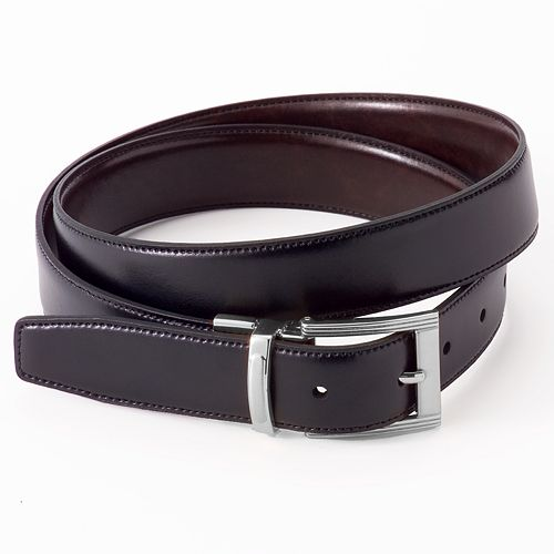Croft & Barrow® Reversible Stitch-Edge Faux-Leather Belt