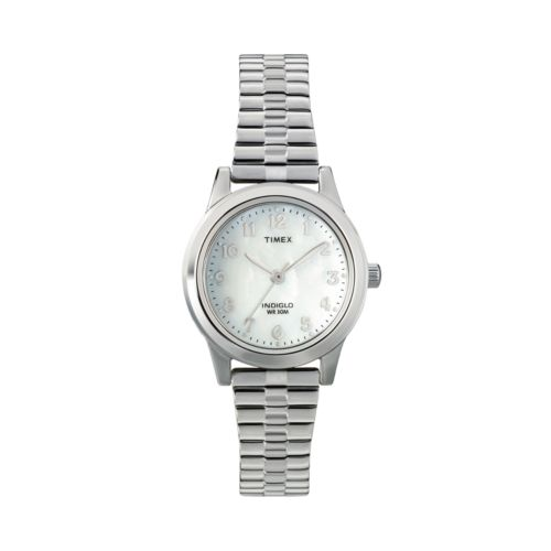 Timex Silver Tone Mother-of-Pearl Expansion Watch - T2M826 - Women