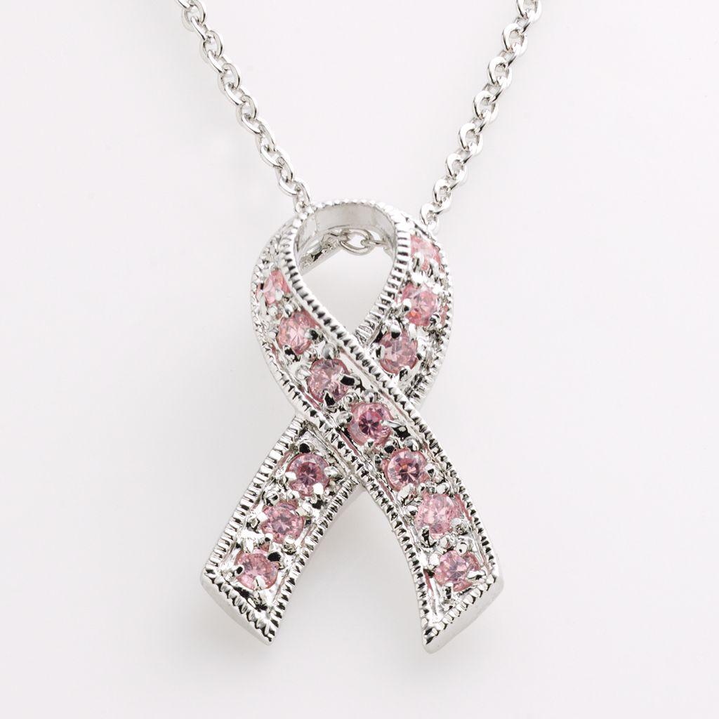 Silver-Tone Cubic Zirconia Breast Cancer Awareness Ribbon Pendant