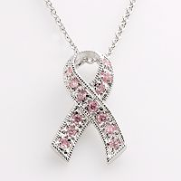 Silver-Tone Cubic Zirconia Breast Cancer Awareness Ribbon Pendant