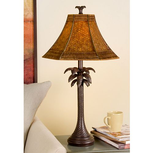 French Verdi Palm Tree Table Lamp
