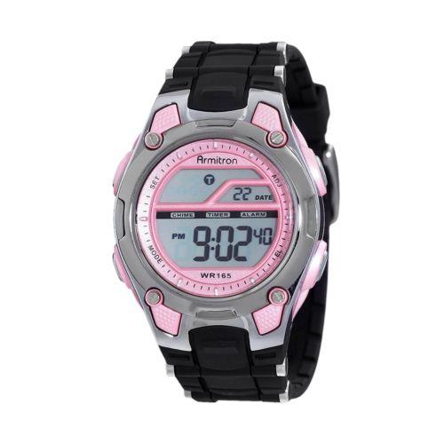 Armitron Silver Tone and Acrylic Digital Chronograph Watch - Women