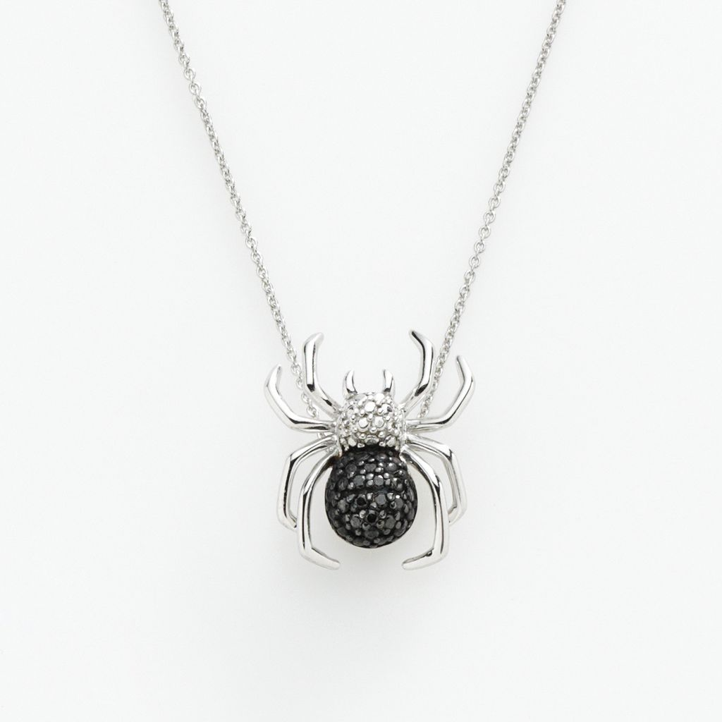 Sterling Silver 1/10-ct. T.W. Black & White Diamond Spider Pendant