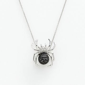Sterling Silver 1/10-ct. T.W. Black & White Diamond Spider Pendant