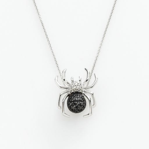 Sterling Silver 1/10-ct. T.W. Black and White Diamond Spider Pendant