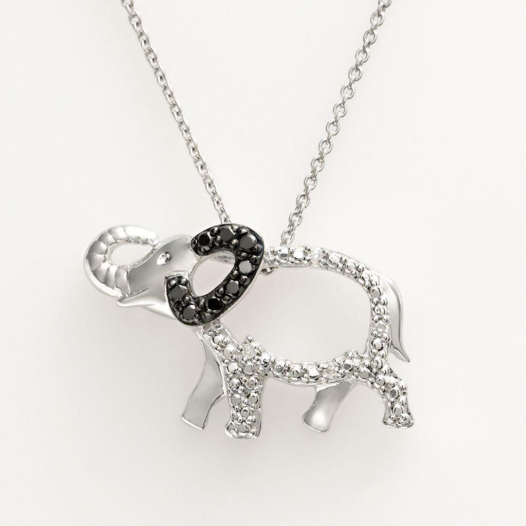 Sterling Silver 1/10-ct. T.W. Black & White Diamond Elephant Pendant