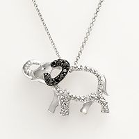 Sterling Silver 1/10-ct. T.W. Black & White Diamond Elephant Pendant