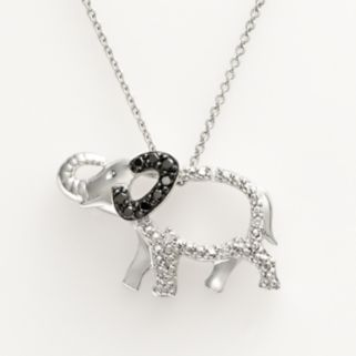Sterling Silver 1/10-ct. T.W. Black and White Diamond Elephant Pendant