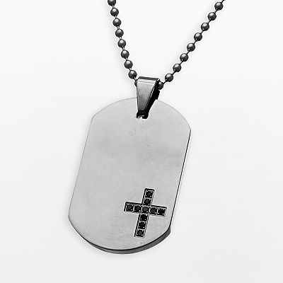 Stainless Steel Black Cubic Zirconia Cross Dog Tag Necklace - Men