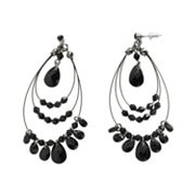 Candie's Jet-Tone Beaded Teardrop Earrings