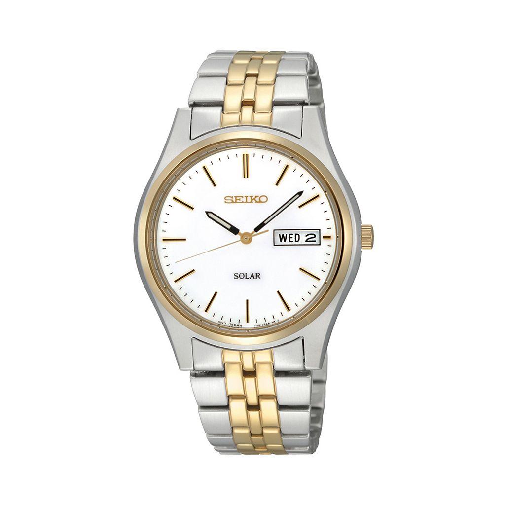 Seiko Men's Two Tone Stainless Steel Solar Watch - SNE032