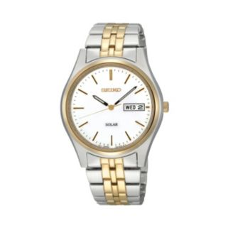 Seiko Men's Two Tone Stainless Steel Solar Watch - SNE032