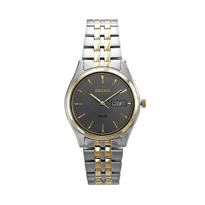 Seiko Solar Stainless Steel Two Tone Watch - Men