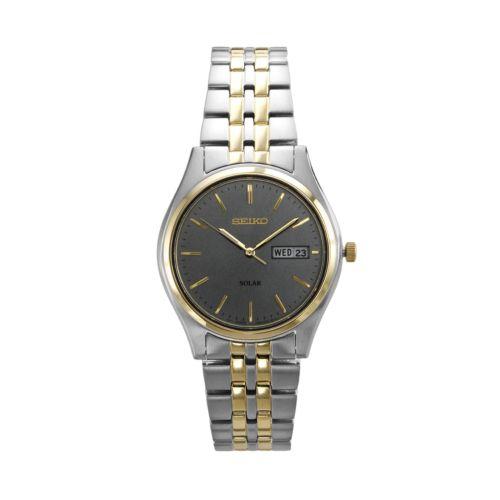 Seiko Solar Stainless Steel Two Tone Watch - Men