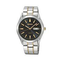 Seiko Men's Solar Two Tone Stainless Steel Watch - SNE047
