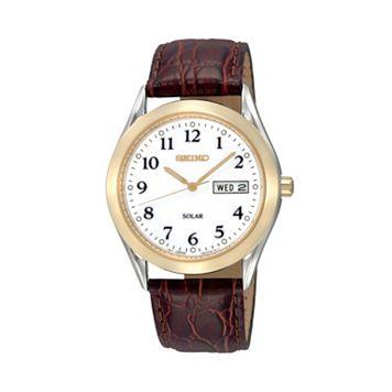 Seiko Men's Solar Leather Watch - SNE056