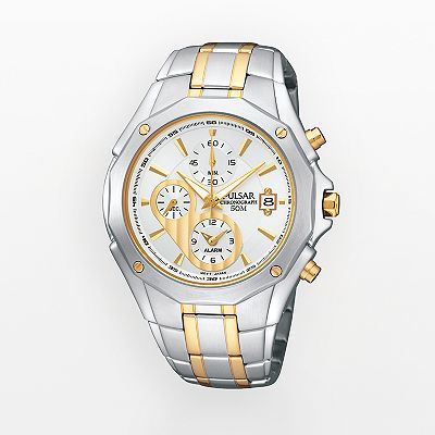 Pulsar Stainless Steel Two Tone Chronograph Watch - Men