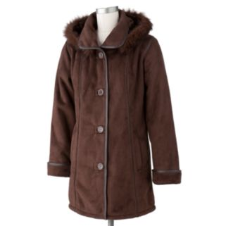 Excelled Hooded Faux-Suede Jacket