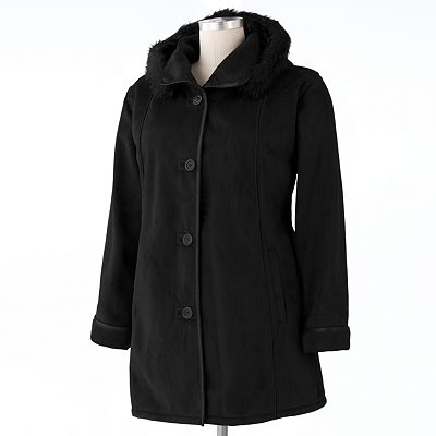 Excelled Hooded Faux-Suede Jacket - Women's Plus