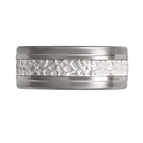 STI by Spectore Titanium & Sterling Silver Textured Band - Men