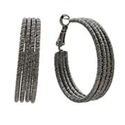 Apt. 9 Jet Textured Hoop Earrings