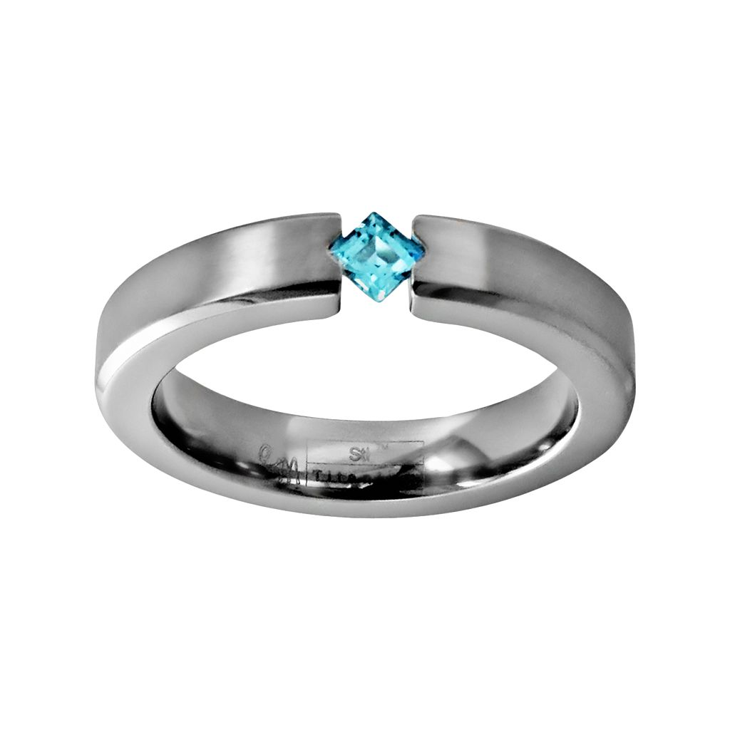 STI by Spectore Titanium Blue Topaz Ring