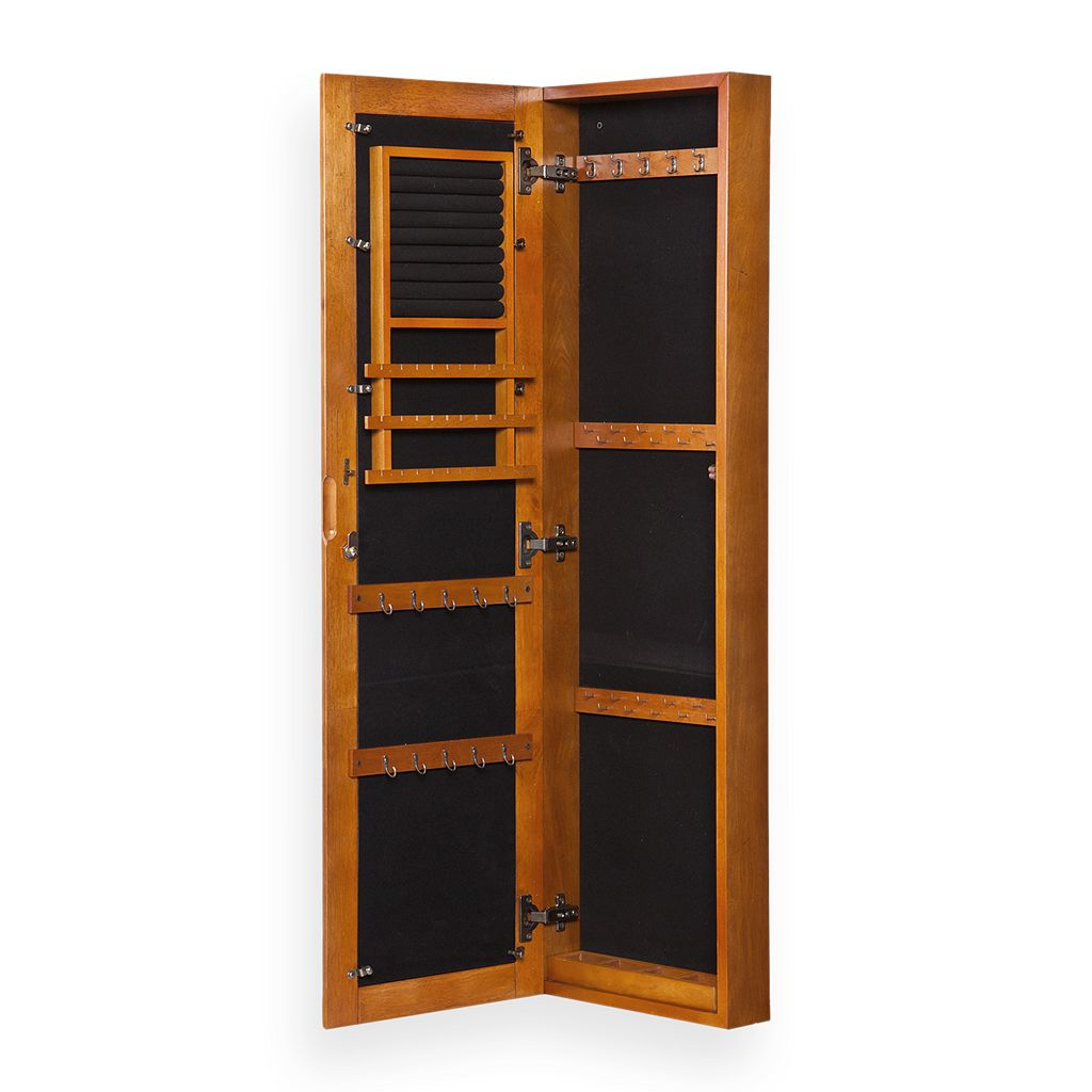 Oak Wall-Mount Jewelry Armoire