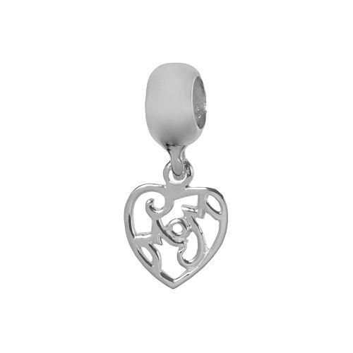 """Individuality Beads Sterling Silver """"Mom"""" Heart Charm"""