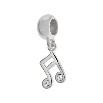 Individuality Beads Sterling Silver Crystal Music Note Charm